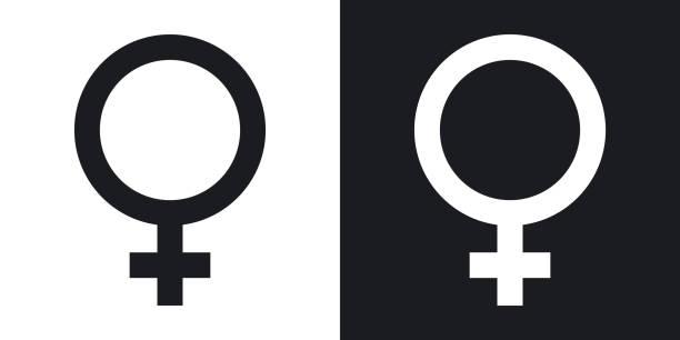 vector female sex symbol. two-tone version - venus stock illustrations