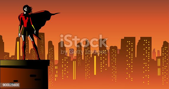 A vector comic book style illustration of a female superhero standing on a roof with city skyline in the background. Wide space available for your copy.