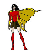 A comic book style illustration of a female superhero in pose, isolated in white. Easy to grab or edit.