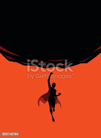 A silhouette style vector illustration of a female superhero flying upward to punch a falling big rock. Wide space available for your copy.