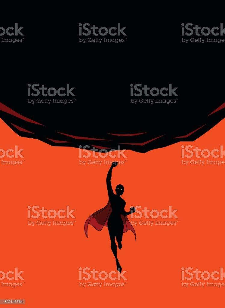 Vector Female Superhero Punches Upward Silhouette vector art illustration