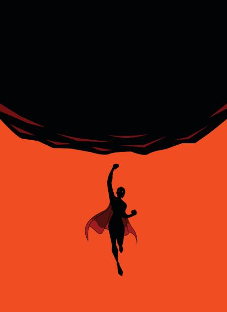 Vector Female Superhero Punches Upward Silhouette vector art illustration