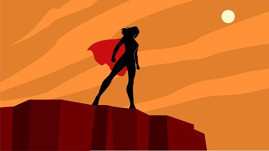 Vector Female Superhero Silhouette on a Cliff Stock Illustration