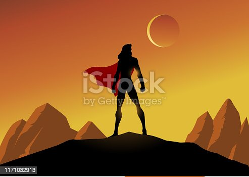 A silhouette style vector illustration of a female superhero standing on a cliff with mountain scenery in the bcakground. Wide space available for your copy.