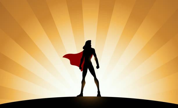 ilustrações de stock, clip art, desenhos animados e ícones de vector female superhero silhouette with sunburst effect in the background - super hero