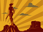 A retro silhouette style illustration of a female superhero warrior with rocky valley in the background.