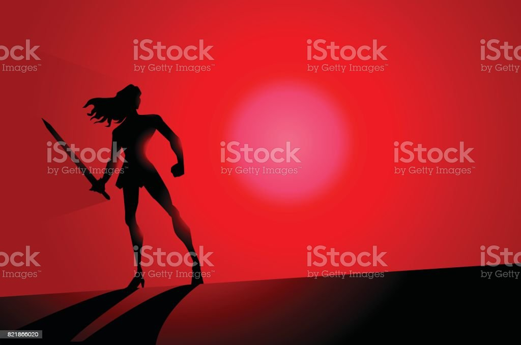 Vector Female Warrior Superhero Silhouette vector art illustration