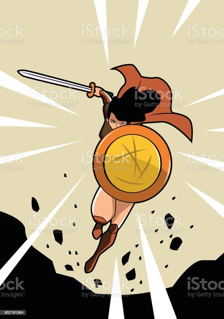 Vector Female Warrior Superhero vector art illustration