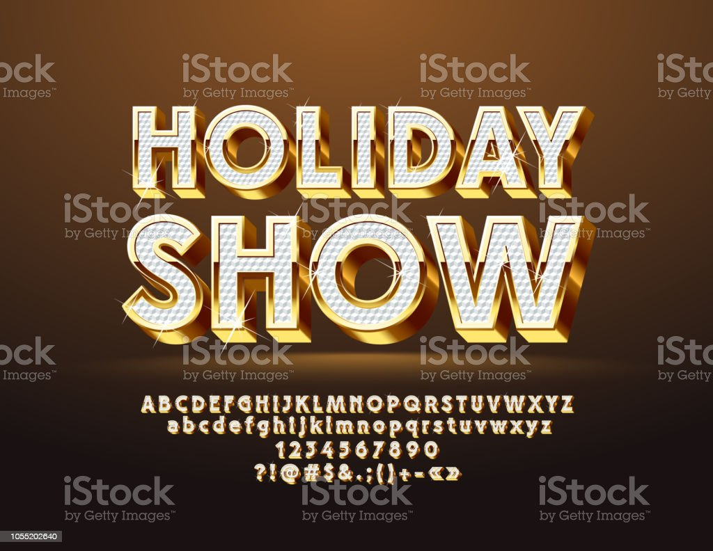 Logo d'Holiday Show chic vectoriel festive avec Alphabet - Illustration vectorielle