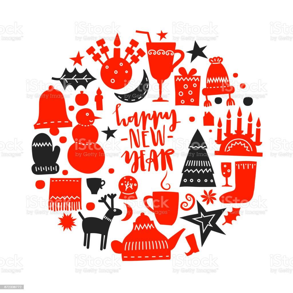Vector Festive Illustration Christmas Red And Black Symbols In Shape