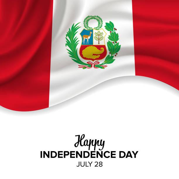 Festliche Vektor-Illustration von Peru Independence Day Feier. Vektor-Design-Elemente des Nationalfeiertages, Urlaub grafische Symbole. – Vektorgrafik