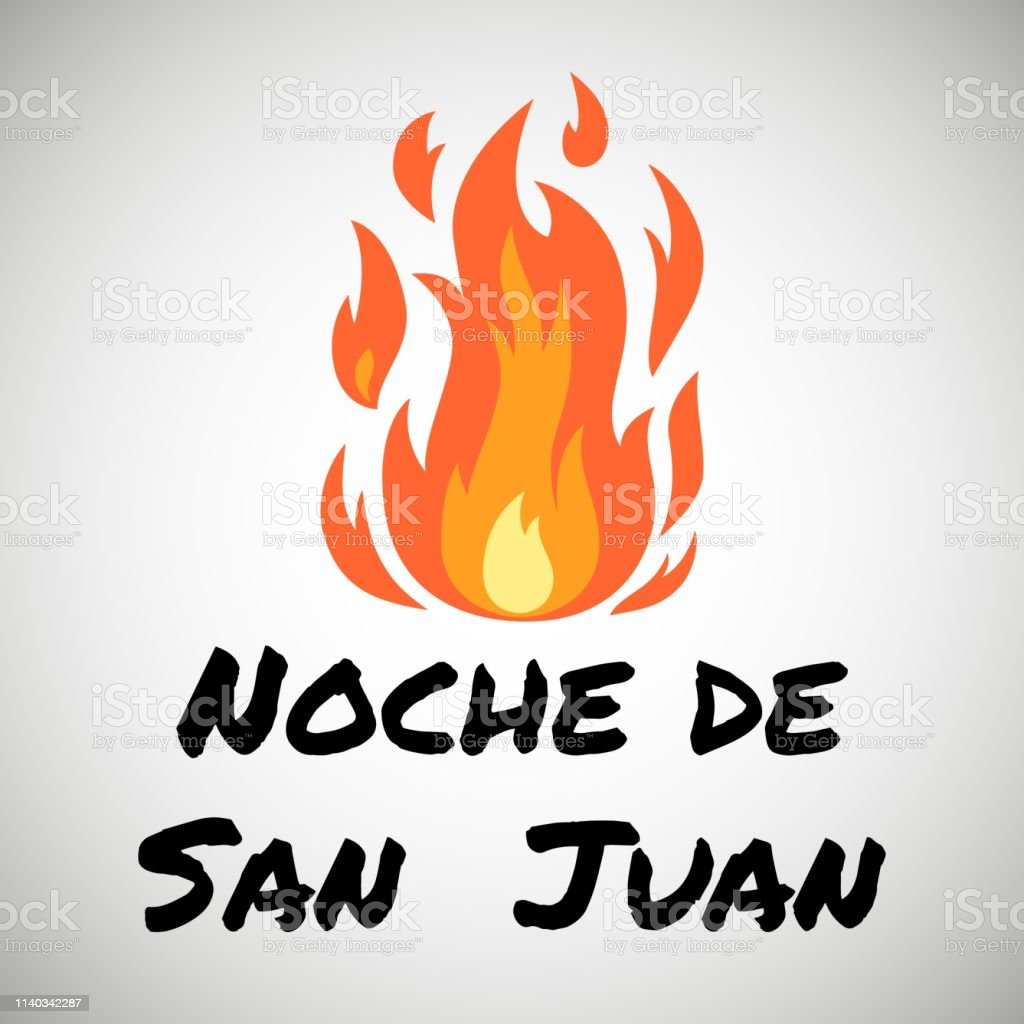 Vector festive poster Night of Saint John with bonfire and text. Spanish translation Noche de San Juan. Greeting card to celebrate the summer solstice, flat banner. Popular Event in Spain.