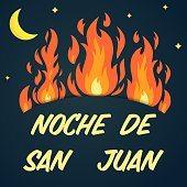 Vector festive poster Night of Saint John with bonfires, text on dark blue sky. Spanish translation Noche de San Juan. Greeting card to celebrate the summer solstice, banner. Popular Event in Spain.