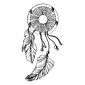 Vector Fether dreamcatcher for good dreams. Black and white engraved ink art. Isolated dream catcher illustration element on white background.