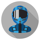 Vector Fighter Pilot Icon