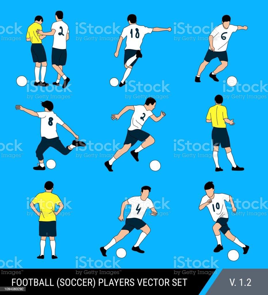Figuras de vetor de jogadores de futebol em um fundo azul brilhante. Juiz e jogadores, poses diferentes, conjunto de vetor. Jogador de futebol acerta a bola, corre com a bola, o juiz multas o jogador. - ilustração de arte em vetor