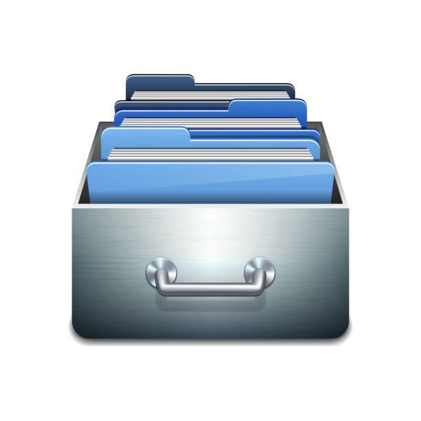 bildbanksillustrationer, clip art samt tecknat material och ikoner med vector file cabinet with documents - byrålåda