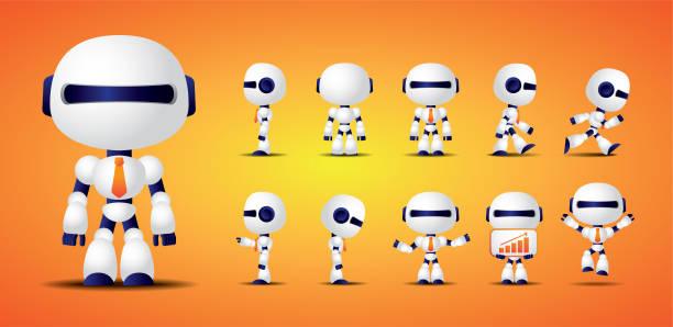 stockillustraties, clipart, cartoons en iconen met vector bestand. schattig en futuristische robot worker karakter. - mascot