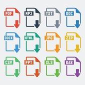 Vector file extensions icons set