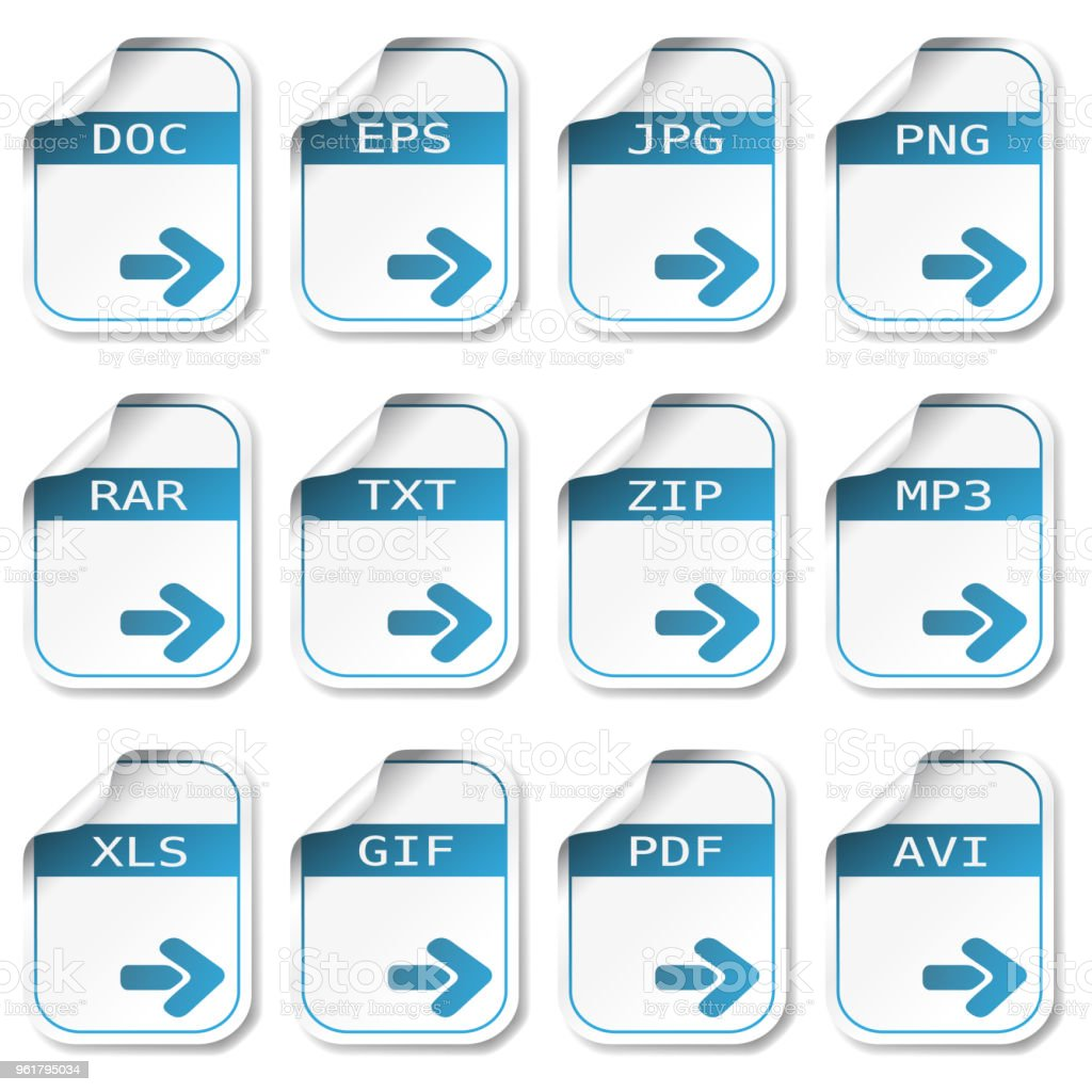 Vector file icons - DOC, EPS, JPG, PNG, RAR, TXT, ZIP, MP3, XLS, GIF, PDF, AVI vector art illustration
