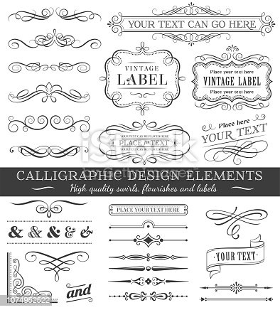 Huge set or collection of vector filigree flourishes for design, isolated on white background