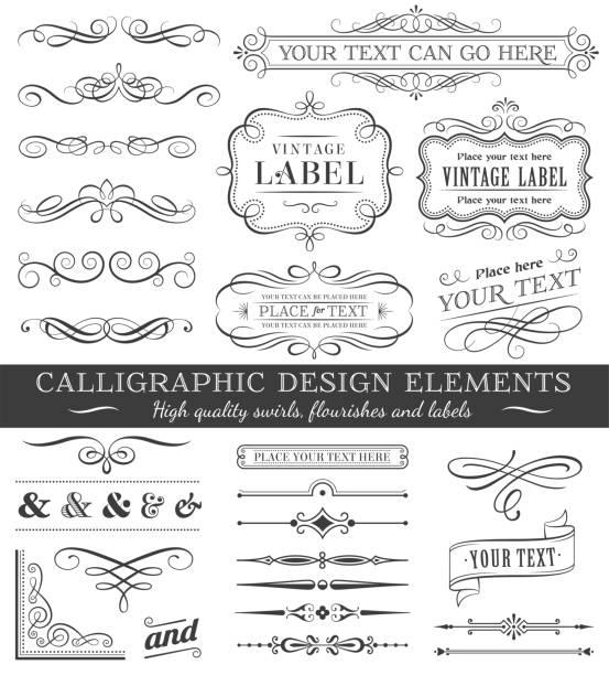 Vector Filigree Flourishes Design Set Huge set or collection of vector filigree flourishes for design, isolated on white background frame border stock illustrations