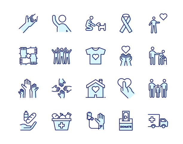 Vector filled outline icons related with humanitarian causes - volunteering, adoption, donations, charity, non-profit organizations. Vector eps10 sheltering stock illustrations