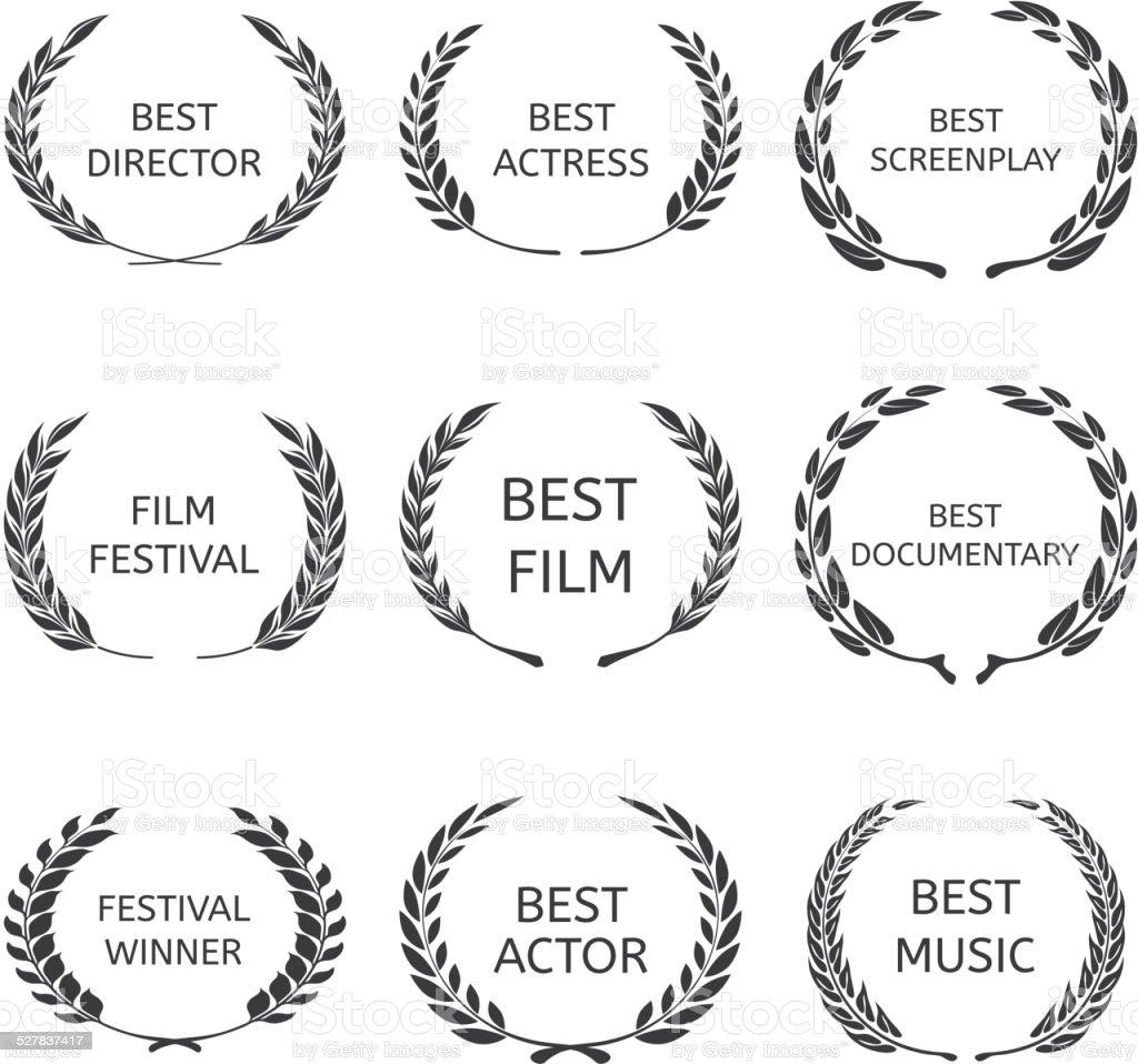 Vector Film Awards, award wreaths on black background royalty-free vector film awards award wreaths on black background stock illustration - download image now