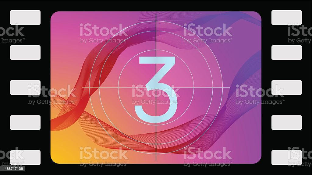 Vector film countdown third frame vector art illustration