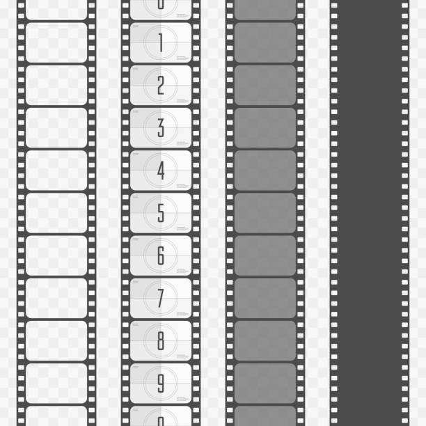 vector film strip set. - record analog audio stock illustrations