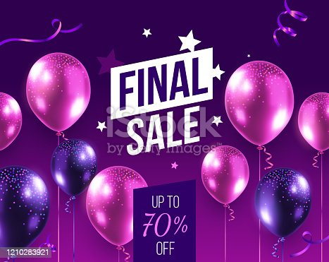 istock Vector final sale illustration with 3d realistic pink and purple air balloon on dark background with text. 1210283921