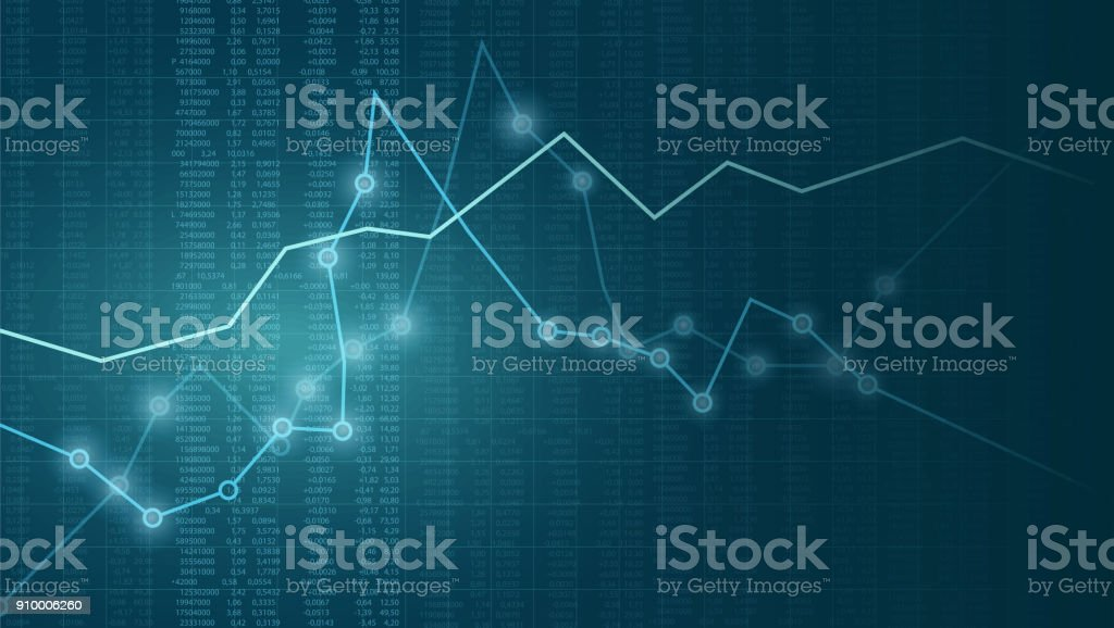 Vector financial chart with line graph, glowing points and numbers in stock market on blue color background vector art illustration