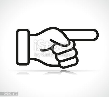 Vector illustration of finger indicating direction symbol