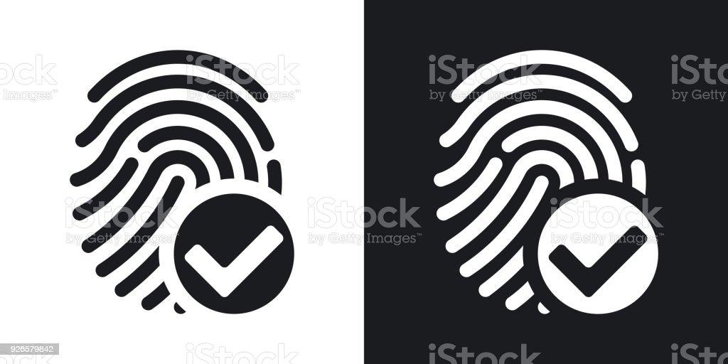 Vector fingerprint accepted icon on black and white background vector art illustration