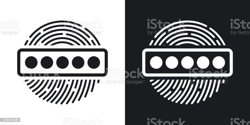 Vector Fingerprint Password icon. Two-tone version vector art illustration