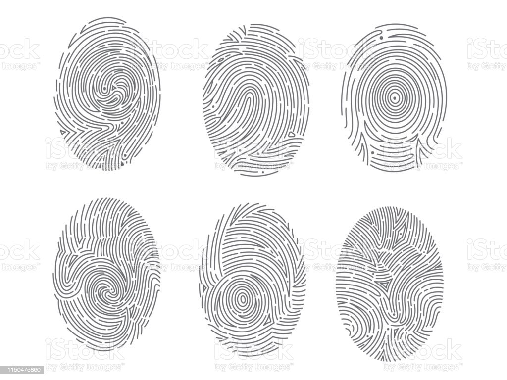 Vector Fingerprint Scan Icons Hand Drawn Biometric Fingerprints Set