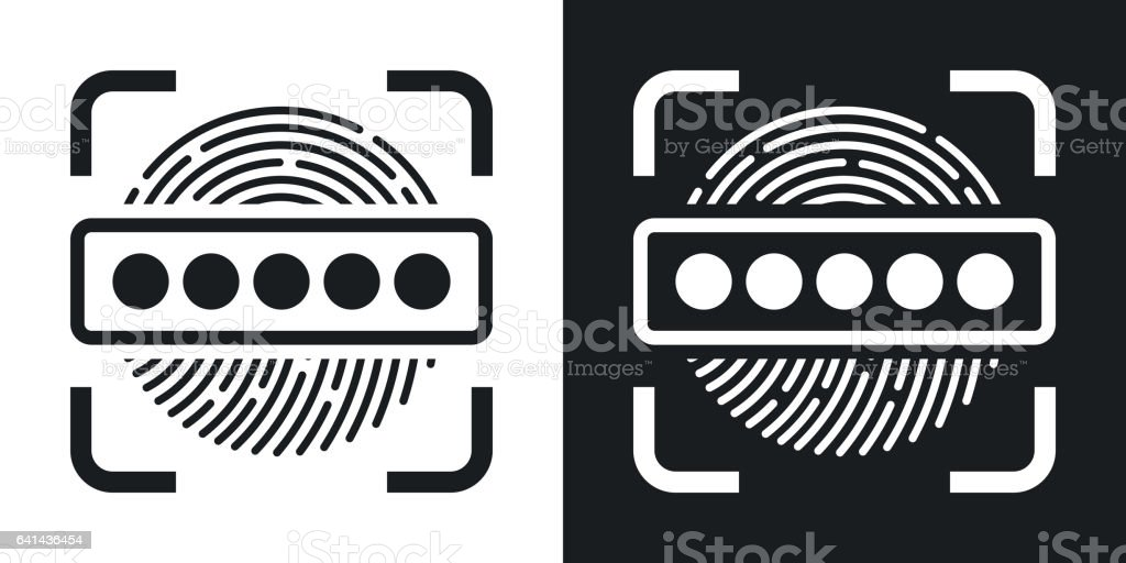 Vector Fingerprint Scanner and Password icon. Two-tone version vector art illustration