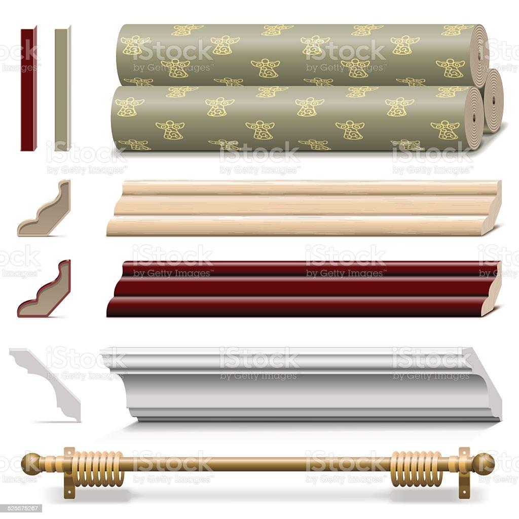 Vetor de materiais de acabamento de parede - ilustração de arte em vetor