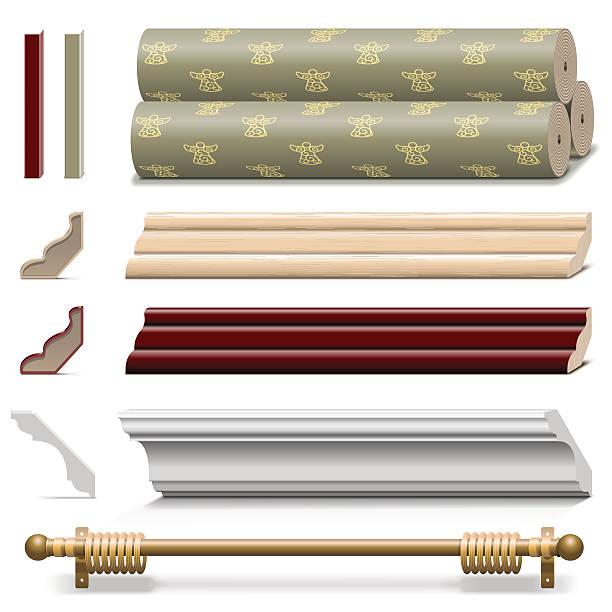 вектор чистовой обработки стенок материалов - карниз stock illustrations