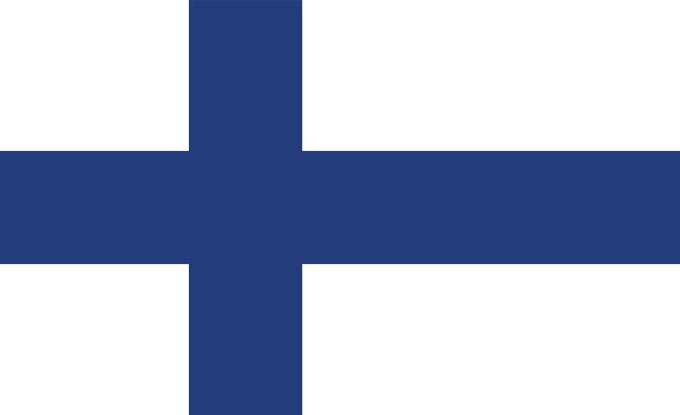 vector finnish flag in original ratio and colors - finnish flag stock illustrations, clip art, cartoons, & icons