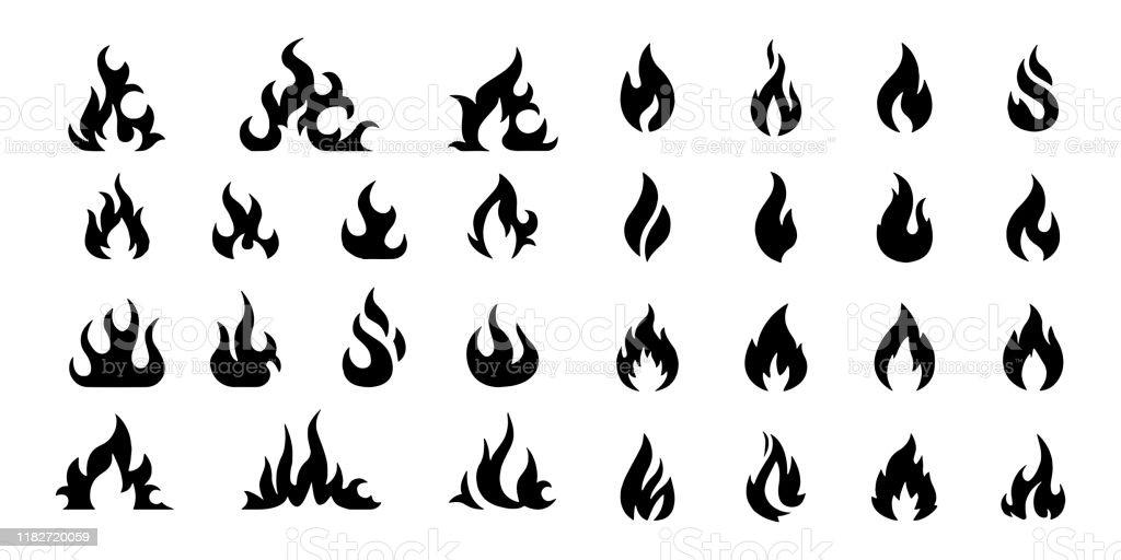Vector Fire Flame Ikonuppsättning symbol för brand på vit bakgrund - Royaltyfri Abstrakt vektorgrafik
