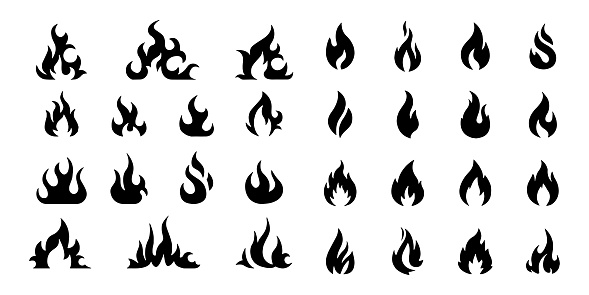 vector fire flame icon set symbol of fire on white background