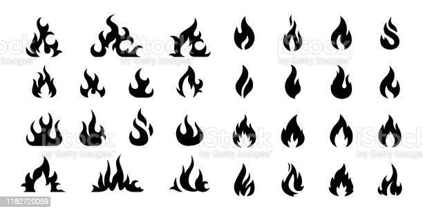 Vector Fire Flame Ikonuppsättning Symbol För Brand På Vit Bakgrund-vektorgrafik och fler bilder på Abstrakt