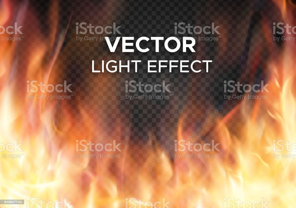 Vector fire flames on transparent background