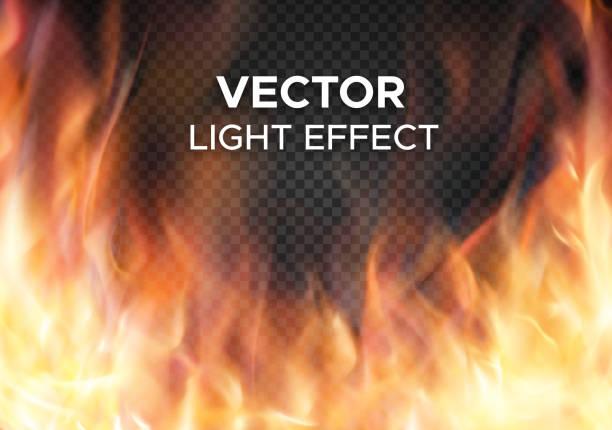 vektor feuer flammen auf transparenten hintergrund - feuer stock-grafiken, -clipart, -cartoons und -symbole