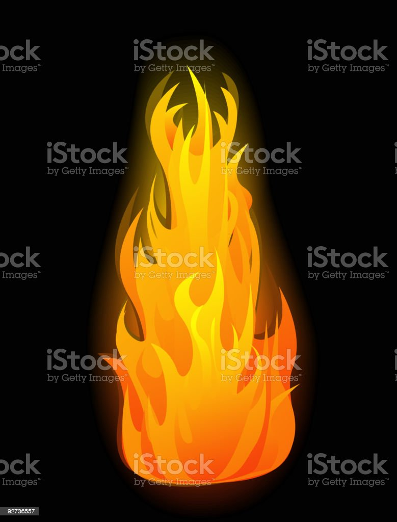Vector fire flames Vector glowing fire flame on black background Abstract stock vector