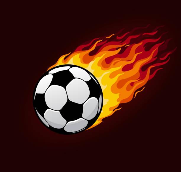 bildbanksillustrationer, clip art samt tecknat material och ikoner med vector brand flygande fotboll bollen för fotboll affisch - fotboll eld