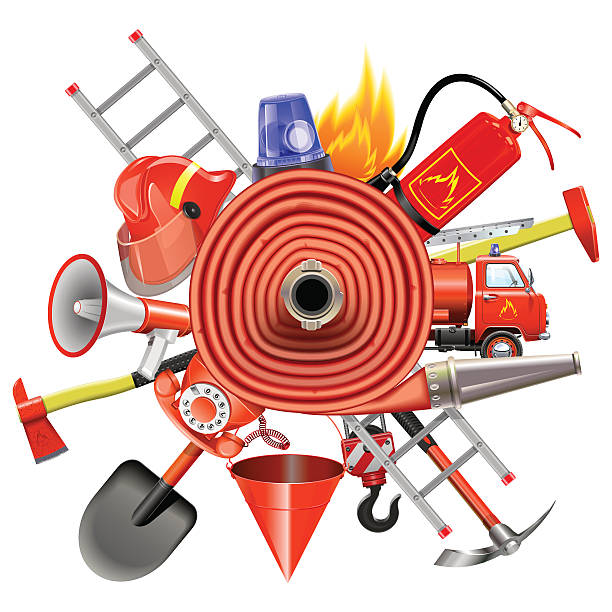 Vector Fire Prevention Concept with Firehose Vector fire prevention concept with helmet, extinguisher, ax, red phone, flasher, truck and other, around the firehose, isolated on white background fire hose stock illustrations