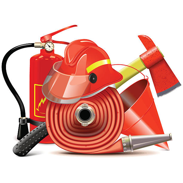 Vector Fire Prevention Equipment Concept Vector fire prevention concept with red helmet, axe, extinguisher, firehose and bucket, isolated on white background fire hose stock illustrations
