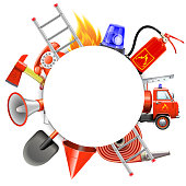 Vector Fire Prevention Round Frame isolated on white background